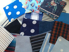 "50 Assorted fabric patchwork 4"" squares Remnants (Blues), Assortment, Craft"