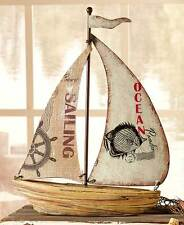 "15"" Carved DriftWood Look SAILBOAT FIGURINE Coastal Gift Collection Boat Figure"