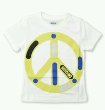 NWT NEW Moschino kid boys white yellow peace print graphic T-shirt 4y
