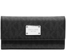 "MICHAEL KORS JET SET LOGO CHECKBOOK WALLET ""BLACK"" MSRP $158 ~ NWT!"