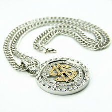 Gold plated Dollar Pendant Chain Hip Hop Bling siverly Rhine Stone Necklace