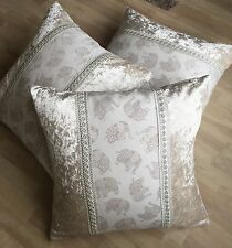 "❤️Hand Made 24"" Ivory/Cream Crushed Velvet Glitz 3 Panel Luxury Cushion Covers❤️"