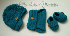 Newborn Baby Newsboy Boy Hat Diaper cover and Booties Crochet photo prop Gift