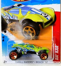 2012 Hot Wheels #208 THRILL RACERS BEACH 3/5 ∞ DA'KAR ∞ GREEN SCAN CARD