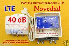 AMPLIFICADOR ANTENA Tv TdT DE MASTIL 2 ENTRADAS 40 dB  LTE+Fuente 150mA
