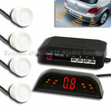 4 PC WHITE RADARS BACKUP SENSOR KIT W/ WIRELESS LED DISPLAY DISTANCE AND BUZZ
