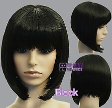 30cm Black Heat Styleable Chic Bob short Cosplay Wigs 91_001