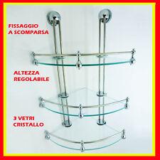 Angoliera portasapone doccia vetro 3 ripiani   accessori bagno regolabile