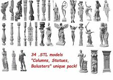 3d STL pack 34 models of Column for CNC Router Engraver Machine Relief Artcam