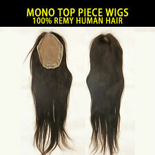 "MONO TOP PIECE WIG 100% REMY HUMAN HAIR EXTENSION 6.5""X5""AREA 18""LONG"