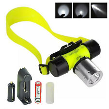 Waterproof Underwater 80m 2000LM XM-L T6 LED Diving HeadLamp Torch+18650 Battery