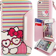 Pink PU Leather Hello Kitty Colorful Stripes Wallet Case for iPhone 4 4S Cover