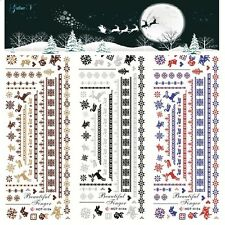 2sheets Christmas Santa Deer Nail Art Stickers Foils Tips DIY Manicure Decals
