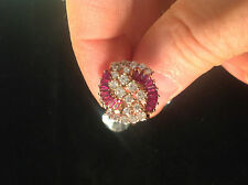 1.50 tcw appx, Diamond & Ruby Baguette Cocktail Ring 14k Y Gold Ex, VS1, Size 7