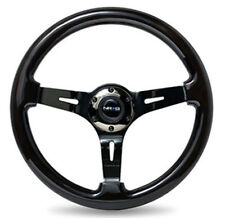 "NRG Steering Wheel Black Wood Grain 350mm w/ Black Chrome Spoke 3"" Deep Dish"