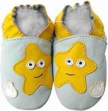 shoeszoo starfish light blue 6-12m S soft sole leather baby shoes