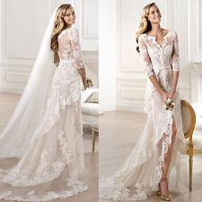 Elegant White/Ivory Lace Bridal Gown Wedding Dress Custom Size 8 10 12 14 16 18