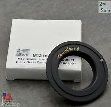 Brass M42 Screw Lens to Canon EOS EF Camera Mount Adapter Black Big Is (#643)