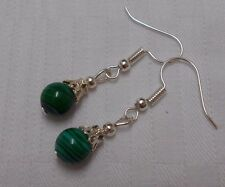 Unique handmade green malachite silver plated earrings free stoppers round beads