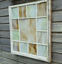 VINTAGE SASH ANTIQUE WOOD WINDOW FRAME OLD CHURCH SHABBY RUSTIC STAINED GLASS