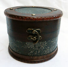 Round Wooden Storage / Trinket Box  with Embossed Detail -  NEW