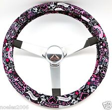 Hand Made Steering Wheel Covers Pink and Black Breast Cancer Awareness