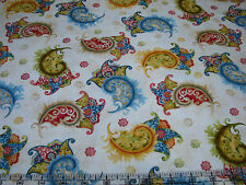 3 Yards Quilt Cotton Fabric - Henry Glass Flower Girl Paisleys on Cream