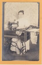 Real Photo Postcard RPPC Woman at New Home Sewing Machine - Lace