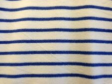 ECRU NAVY BLUE STRIPE POLAR FLEECE BLANKET JACKET DRESSMAKING CRAFT FABRIC