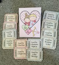 12 Love Token coupons - Vintage retro Tea Party Hen Night favour Valentines Gift