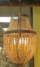 "20"" Iron Cream Beaded Pendant Chandelier 