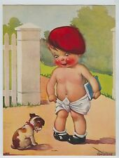 Vintage Print  Baby Boy in red beret & diaper with book & puupy dog  Twelvetrees