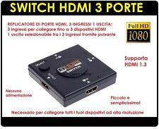 SWITCH HDMI 1080P  FULL HD 3 PORTE TVHD ADATTATORE SDOPPIATORE PRESA MULTIPLA