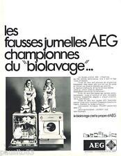 PUBLICITE ADVERTISING 105  1970  AEG lave vaisselle lave linge BIOLAVAGE jumelle