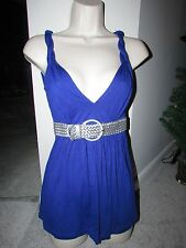 URBAN BEHAVIOR BLUE V-NECK KNIT TOP WITH ATTACHED SILVER BELT SIZE XS COTTON