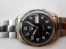 Rare SS Vintage Military Style Black Seiko 5 Mens Automatic WristWatch Japan
