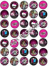 30 X Monster High Cup Cake Toppers sobre comestibles wafer/rice Papel