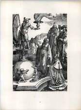 Lucas Van Leyden Solomon's Idolatry Before Moloch Old Woodcut