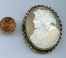 Excellent Victorian Gold Filled Real Shell Large Cameo Minerva Goddess