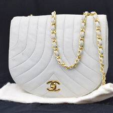 Auth CHANEL CC Logos Chain Shoulder Bag Leather White France Vintage 37A485