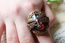 Large Dragonfly Ring Ornate Copper Victorian Large Ooak Stone Spring SALE gift