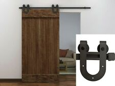 6FT Dark Coffee Antique Horseshoe Barn Wood Sliding Door Hardware Track Set