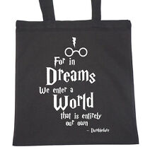 Tote Natural Cotton Shopper Bag Gym Shopping Beach Harry Potter Quote Dreams