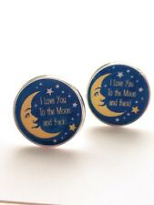 Love you to the Moon & Back/ Mens cuff links/ Mens Jewelry/ Wedding/ Anniversary