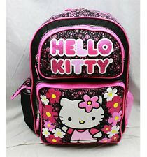 "NWT Hello Kitty 16"" Large Backpack Bag Black Pink Paisley Style Licensed Sanrio"