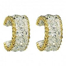 Montana Silversmiths Small Silver Gold Rope Crystals Cuff HOOP Earrings Studs