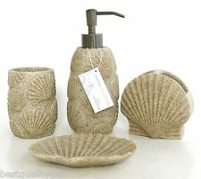 COASTAL COLLECTION 4PC SET SAND BEIGE+CLAM SHELL BEACH SOAP DISPENSER+DISH+2MORE