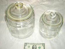 "2 Lot RARE IKEA Heavy Clear Glass 8"" & 10"" Air Seal Lid Cookie Candy Fruit Jars"