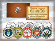 U.S. ARMED FORCES MILITARY LOGOS US STATE QUARTER 5-COIN SET ARMY MARINES NAVY