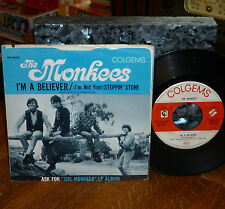 """* * THE MONKEES! MONSTER #1 HIT """"I'M A BELIEVER"""" CLEAN VG+ 45/PICTURE SLEEVE!"""